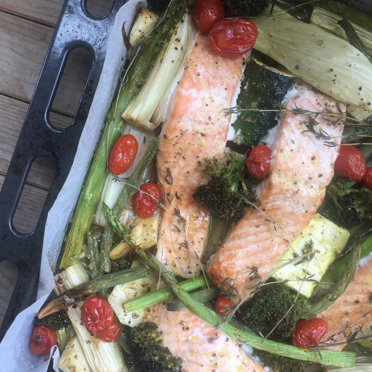 סלמון עם ירקות בתנור