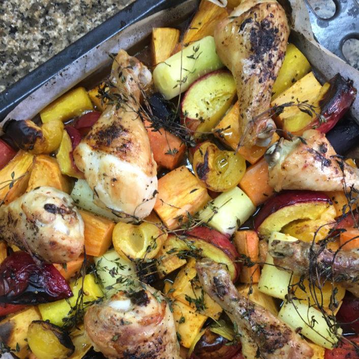 פולקעס עוף עם פירות של קיץ